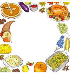 thanksgiving background with traditional dishes vector image