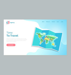 time to travel website text map with countries vector image