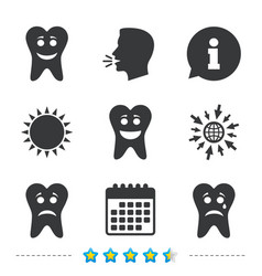 Tooth smile face icons happy sad cry vector