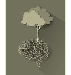tree with brain paper cut vector image