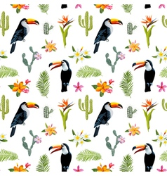 Tropical background toucan bird cactus vector