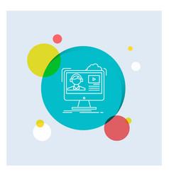 tutorials video media online education white line vector image