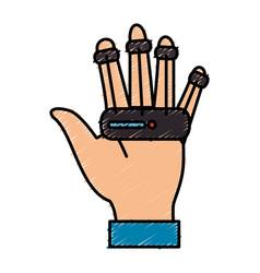 Virtual reality glove technology vector
