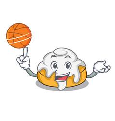 With basketball cinnamon roll character cartoon vector