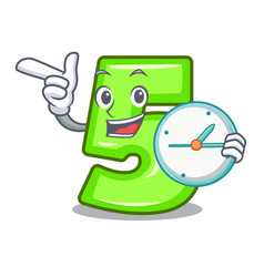 With clock cartoon house number five on wall vector