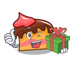 With gift sponge cake mascot cartoon vector