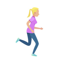 young blonde girl in slinky sport form running vector image
