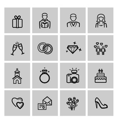 black wedding icons set vector image vector image