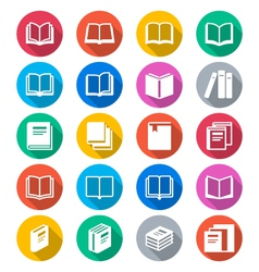 Book flat color icons vector image