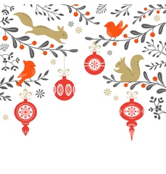 Christmas woodland background vector image vector image