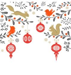 Christmas woodland background vector image