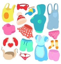 Clothes Icons set cartoon style vector image