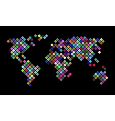 Colorful pixel world map vector image