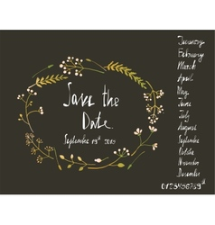 Rustic Wreath Save the Date Invitation Card with vector image vector image