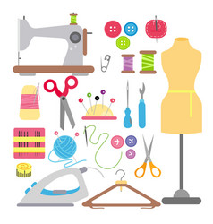 sewing and needlework flat vector image