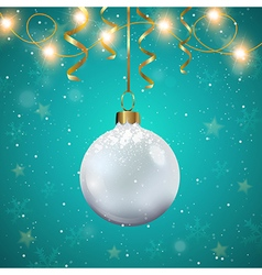 White Christmas decoration and golden ribbons vector image vector image
