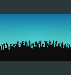 concert crowd people silhouettes hands with vector image