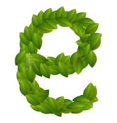 Letter E of green leaves alphabet vector image