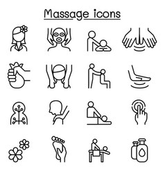 massage spa icon set in thin line style vector image