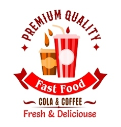 Takeaway fast food coffee and soda drinks icon vector image vector image