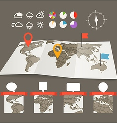 Earth maps set with and charts vector image