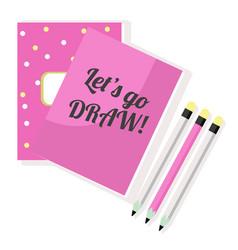 Pink notepad sketchbook and pencils vector