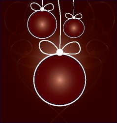 red balls with ribbons on smokey background vector image