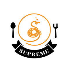 supreme spaghetti logo with s letter typography vector image vector image