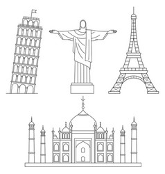world landmarks eiffel tower leaning tower of vector image