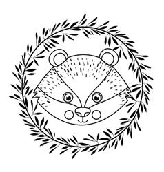 animal drawing within wreath icon vector image