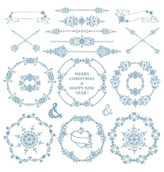 ChristmasNew year decor setWinter frames wreath vector image vector image