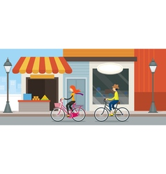 Couple Riding Bicycles In Town vector image vector image