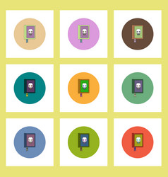 Flat icons halloween set of old magic book and vector