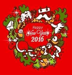 Happy New Year 2016 with handmade sketch vector image