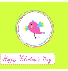 Happy Valentines Day card with cute bird vector image vector image