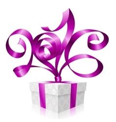 purple ribbon and gift box 2016 vector image vector image