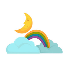 rainbow in clouds and moon vector image