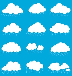 set cloud with rain smoke element decor isolated vector image vector image