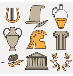 Travel Greek Culture Landmarks and cultural vector image