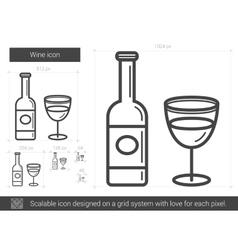 Wine line icon vector image vector image