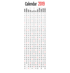 2019 calendar planner vertical direction design vector