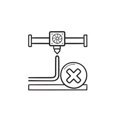 3d printing cancel hand drawn outline doodle icon vector image