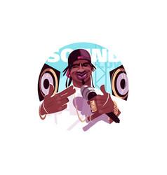 Afroamerican rap singer vector