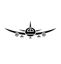 airplane flight black icon sign on vector image