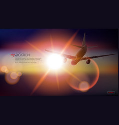 airplane flying above sea to the sunset vector image