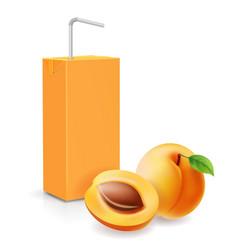 Apricot juice carton box realistic icon vector
