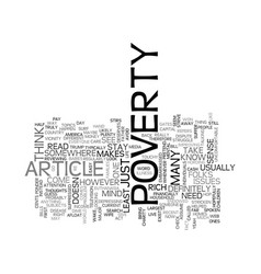 Article on poverty text word cloud concept vector