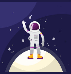 astronaut in space on planet vector image