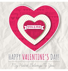 background with red valentine heart vector image