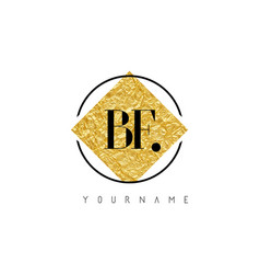 Bf letter logo with golden foil texture vector